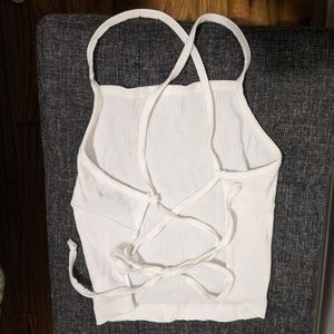 Urban Outfitters White Ribbed Lace Up Tank